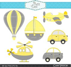 cute vehicle clip art ,yellow and grey, helicopter clip art,car,boat, hot air…