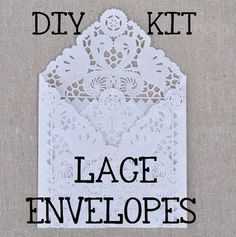 DIY KIT for a set of 75 Lace Wedding Invitation Envelope Liners, Paper Doily Lace Invitation Liner Kit, DIY Lace Envelopes Invitation Kits, Wedding Invitation Envelopes, Vintage Wedding Invitations, Diy Invitations, Elegant Wedding Invitations, Invites, Pinterest Wedding Invitations, Wedding Pinterest, Paper Doilies