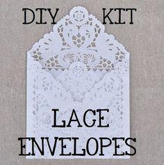 Lace Style Wedding Invitations | Gorgeous DIY white lace envelopes at Bashore Designs on Etsy.