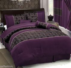 7Piece Luxury Purple Rpse Color KING Comforter Set
