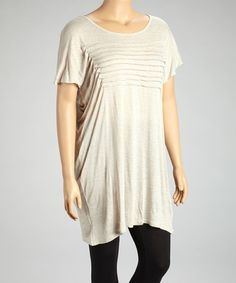 Love this Beige Tiered Tunic - Plus on #zulily! #zulilyfinds Interesting effect with the tucks.