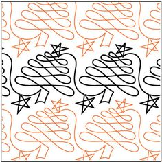 Christmas Doodle Trees quilting pantograph pattern by Patricia Ritter of Urban Elementz
