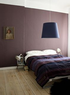 look around that giant light. The purple room is great. #paint #color #purple