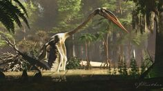 Quetzalcoatlus by PaleoGuy on DeviantArt Prehistoric Wildlife, Prehistoric Dinosaurs, Prehistoric Creatures, The Good Dinosaur, Dinosaur Art, Godzilla, Short Faced Bear, Dinosaur Illustration, Spinosaurus