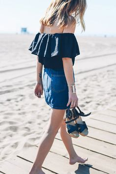 summer outfits - 30 Summer Outfits To Rock This Spring Break: Fashion Blogger 'Prosecco & Plaid' wearing a black off shoulder crop top, a denim a-line mini skirt and black platform sandals