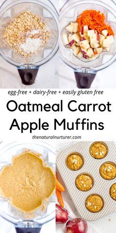 Egg Free Recipes, Baby Food Recipes, Baking Recipes, Whole Food Recipes, Snack Recipes, Dairy Free Recipes For Kids, Vegan Muffins, Gluten Free Carrot Muffins, Dairy Free Muffins