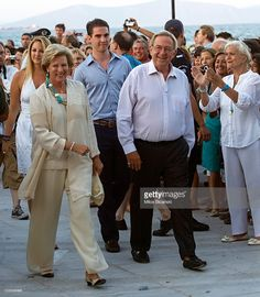King Constantine and Queen Anna Maria of Greece attend a pre-wedding reception at the Poseidon Hotel on August 24, 2010 in Spetses, Greece.The small greek Island, three hours from Athens, is gearing up for the Royal Wedding of Prince Nikolaos of Greece and Tatiana Blatnik on Wednesday. Royals from all over Europe and the world are expected to attend the ceremony.Prince Nikolaos is the second son of King Constantine and Queen Anne-Marie while Tatiana is an events planner for Diane Von…