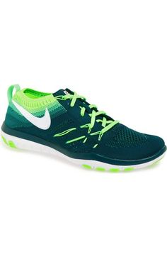 'Free Tr Focus Flyknit' Training Shoe (Women), Midnight/ Green