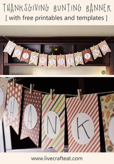 thanksgiving paper bunting banner :: FREE printables and templates + a variation to get the kids involved!   www.livecrafteat.com