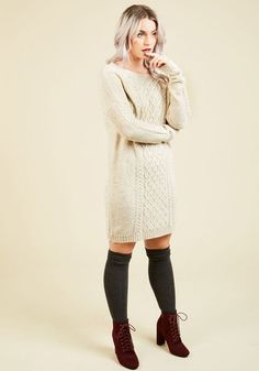Greet your gals with a warmhearted welcome as you confidently stride into the cider house in this oatmeal sweater dress! Dappled grey threads weave through this cozy cable knit from Jack by BB Dakota, enveloping you in snuggly style that's perfect for a chilly day that's brimming with adventure.