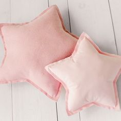 The perfect pair!  Pink, blue, gray or white!  Customize the perfect pastels for your decor!  #starpillows #pastelstars #pleasantleehomeetsy #restorationhardwarestyle #pastelnursery