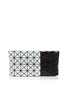 BAO BAO ISSEY MIYAKE Platinum Bicolor Clutch. #baobaoisseymiyake #bags #polyester #clutch #metallic #shoulder bags #hand bags #nylon #