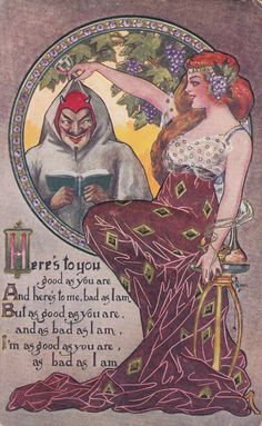 RARE Art Nouveau Ryan Scottish proverb toast Here's to you Devil 1900s postcard - SOLD