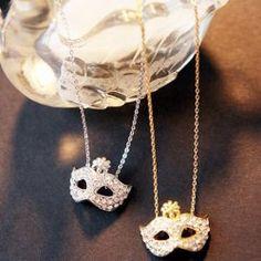 $5.06 Stunning and Stylish Rhinestone and Flower Inlaid Masque Shape Pendant Necklace