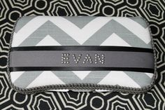 Gray Chevron Zig Zag with Black Acccents Baby Wipes Case for BOY Grey Wipe Holder with Name in Rhinestuds. $18.95, via Etsy.    My awesome baby gift from my bestie. :)