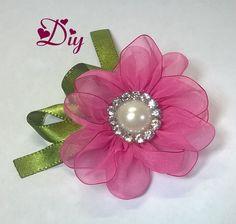 Flor de fita de voal  Ribbon flower Diy                              …