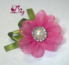 Flor de fita de voal \ Ribbon flower Diy