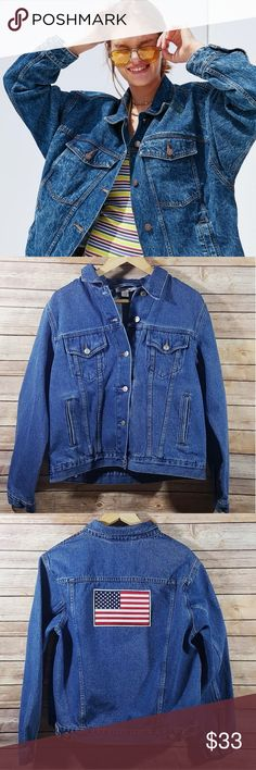 Oversized Vintage American Flag Denim Jacket Oversized Vintage American Flag Denim Jacket The perfect addition to your spring wardrobe! This versatile jacket is the perfect medium wash for any outfit! *not from uo* Urban Outfitters Jackets & Coats Jean Jackets