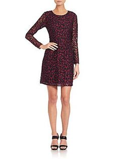 Shoshanna Two-Tone Lace Brooklyn Dress - Plum - Size 2