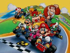 Wallpaper of video game Super Mario Kart (snes) in resolution Super Mario Kart Super Mario World, Mundo Super Mario, Super Mario Kart, Super Nintendo, Nintendo 3ds, Tandem, Mario Kart Characters, Anime Characters, Mario Kart Games
