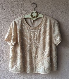 Image of Anthropologie blush pink silk satin Great gatsby beaded crop top for romantic date