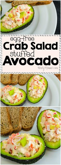 I love this recipe for Egg-Free Crab Salad Stuffed Avocado! So easy and fast! Mmm...