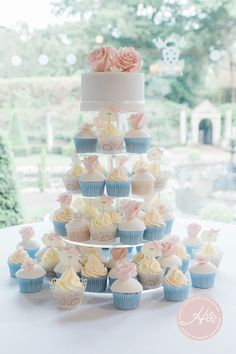 Cupcake tower, cupcake wedding cake, dessert table, wedding favours, luxury wedding cake, elegant wedding cake, alternative wedding cake, wedding cake inspiration, pastel wedding cake...