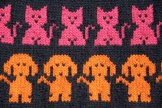 Fairisle knitting - cats and dogs. Change to intarsia crochet and I'm set to go. Love that doggie!!! <3