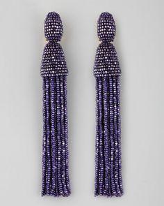Long Beaded Tassel Earrings, Violet by Oscar de la Renta at Neiman Marcus.