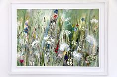 'Summer Field'An ... Contemporary Art For Sale, Irish Art, Large Painting, During The Summer, Wild Flowers, Countryside, Watercolor Art, Canvas, Floral