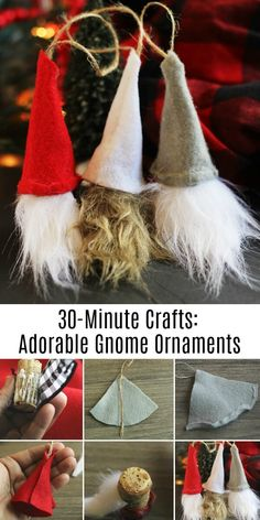 DIY Swedish Gnome Ornaments from Wine Corks - Holiday Fun! - These DIY Swedish Gnome ornaments are a quick craft and is a great scrap-buster. Yule Crafts, Cork Crafts, Holiday Crafts, Diy Christmas Crafts To Sell, Diy Holiday Gifts, Holiday Fun, Diy Gifts, Gnome Ornaments, Diy Christmas Ornaments