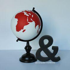 "#Globe – Custom College/University Logo – Hand Painted – 8"" Diameter – Perfect for College Dorm – Football Fans – Graduation Gift – UGA – University of Georgia – Dawgs www.etsy.com/shop/considertheworld"