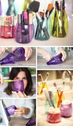 Repurpose Colorful Method Bottles   18 DIY Makeup Storage Ideas   Easy Organization Ideas for Girls Bedrooms