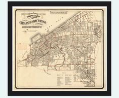 Old Map of Cleveland and suburbs 1882 by OldCityPrints on Etsy, $45.00