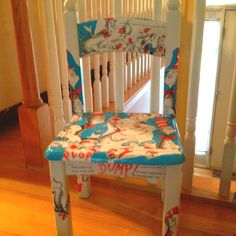 My friend, Tara, made this one! Decoupage Furniture, Furniture Projects, Kids Furniture, Whimsical Painted Furniture, Painted Chairs, Kids Table And Chairs, Kid Table, Classroom Design, Classroom Chair