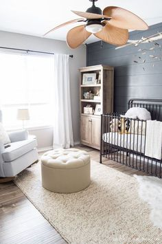Looking for gender neutral decoration inspiration? This calm and coastal nursery room is the perfect balance of soft textiles and stately furniture that is sure to grow with your little one over the years. Baby Bedroom, Baby Boy Rooms, Baby Boy Nurseries, Nursery Room, Kids Bedroom, Kid Rooms, Room Kids, Baby Cribs, Coastal Nursery