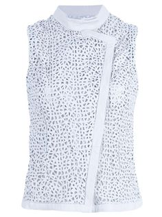 White sleeveless leather gilet from Emporio Armani