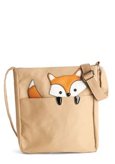 Got One Friend in My Pocket Bag in Fox - Tan, Print with Animals, Boho, Travel, Darling, Critters, Woven, Orange