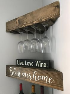 44 Affordable Diy Floating Wine Rack Design Ideas That You Must Try - With the explosion of eco-friendly products over the last few years, we are finding new and exciting ways to incorporate the green movement into our e. Rustic Shelves, Diy Corner Shelf, Rustic Wood, Decor, Corner Shelves, Shelves, Corner Shelves Kitchen, Wood Wine Racks, Wine Shelves