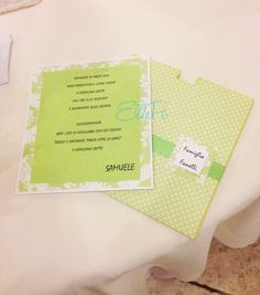 INVITO PRIMA COMUNIONE/CRESIMA  Formato a tasca. Tema carta e colore nastro sono personalizzabili. SPEDIZIONI IN TUTTA ITALIA