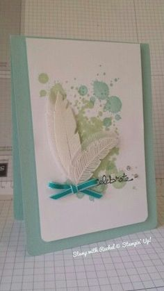 Stampin' Up! ... handmade card ... die cut feathers embossed white on white paper and vellum ... grunge splats in soft greeen and blue ... lovely card ...