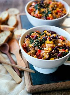 One-Pot Vegetarian Quinoa Chili With Kale and Red Beans