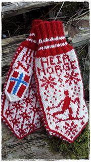 Ravelry: Heia Norge-votten pattern by Jorunn Jakobsen Pedersen Knitting Patterns Free, Free Knitting, Baby Knitting, Wool Gloves, Knitted Gloves, Fingerless Mittens, Knit Mittens, Drops Design, Wrist Warmers