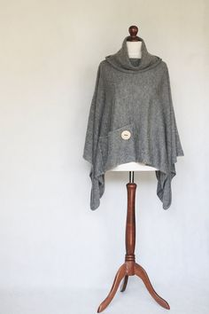 Knit poncho gray poncho gray scarf gray cape by KnitwearFactory, $96.00