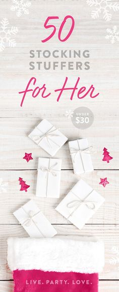 50 Stocking Stuffer Ideas for Her 50 Stocking Stuffer Ideas for Her. Shop this collection of fun, uplifting Christmas gift ideas for women. via Live Party Love Christmas Gifts For Women, Gifts For Teens, Gifts For Wife, Christmas Diy, Christmas Shirts, Merry Christmas, Holiday Gift Guide, Holiday Gifts, Unique Graduation Gifts