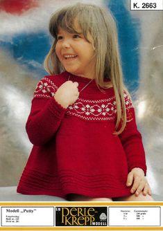 Bilderesultat for petrakjolen Knitting For Kids, Free Knitting, Baby Knitting, Christmas Knitting, Christmas Sweaters, Norwegian Knitting, Baby Barn, Fair Isle Knitting Patterns, Knit Baby Dress