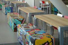 Horizon College breidt schoolkantine uit met FalcoBloc straatmeubilair; FalcoBloc tafels en banken zonder rug.