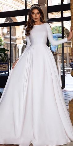 36 Gorgeous A-Line Wedding Dresses ❤️ a line wedding dresses simple with long sleves modest tina valerdi bride simple modest wedding dresses A-Line Wedding Dresses Collections Wedding Dress Trends, Black Wedding Dresses, Princess Wedding Dresses, Wedding Dress Styles, Designer Wedding Dresses, Bridal Dresses, Flattering Wedding Dress, Plain Wedding Dress, Bridesmaid Dresses