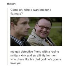Mike Stamford introducing John & Sherlock xD (Johnlock)<==don't ship it but this is gold Sherlock Holmes Bbc, Sherlock Fandom, Sherlock John, Sherlock Tumblr, Jim Moriarty, Sherlock Quotes, Supernatural Fandom, Johnlock Tumblr, Watson Sherlock