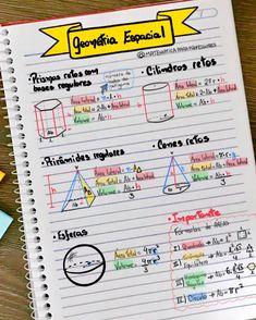 📚📝✍️ Geometria Espacial - resumo 1 📚📝✍️ Fórmulas importantes de Geometria Espacial para acertar as questões do Enem e demais processos… Math Notes, Study Organization, Bullet Journal School, School Notebooks, Cute School Supplies, School Subjects, School Essentials, Lettering Tutorial, Study Inspiration